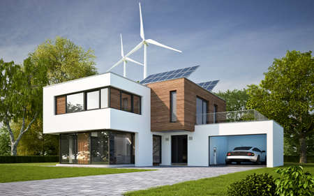 Modern villa with ecological electricity generation