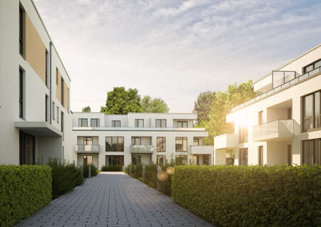 3D rendering of a residential complex in the evening sun