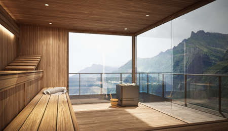 3D rendering of a sauna area with a panoramic view