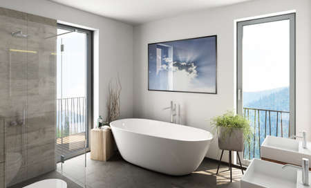 3D rendering of a modern bathroom