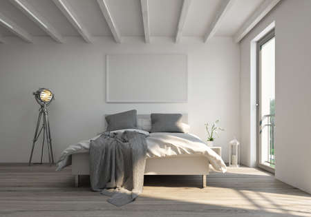 3D rendering of a bedroom white