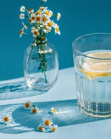 A glass of water with a slice of lemon in a hard light with beautiful shadows on a blue background. Vase with white daisies on a blue background.