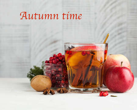 Banner autumn food photo with hot tea with cinnamon, lemon, Apple, berries and spices. Text autumn time