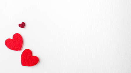 Valentine's Day Background. White background with hearts. Copy space. High quality photo