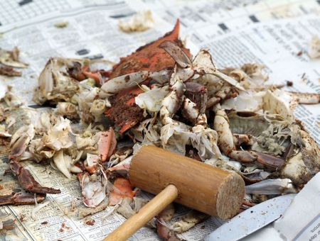 crab shells and guts, the only remains of the crab feast