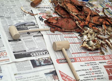 ready to eat steamed and seasoned maryland blue crabs  Banco de Imagens