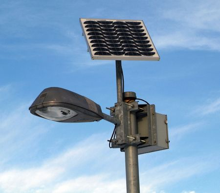 solar powered lamp post with blue sky Stock Photo