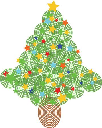 Christmas tree illustration with stars Vector