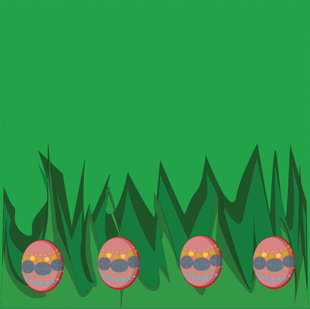 Pink decorated easter eggs on green grass Ilustração