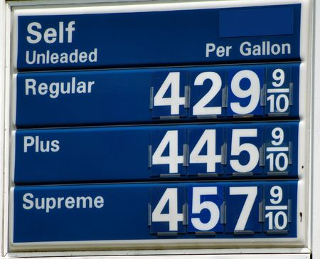 High Gas prices above four dollars per gallon in the United States.  Stock Photo