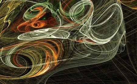 Torsion de turbulence et orange sur fond vert  Banque d'images - 3284113