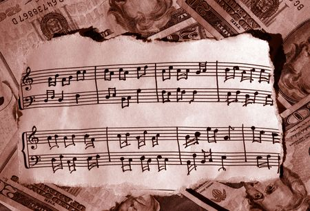 autograph: torn music in sepia with cash behind