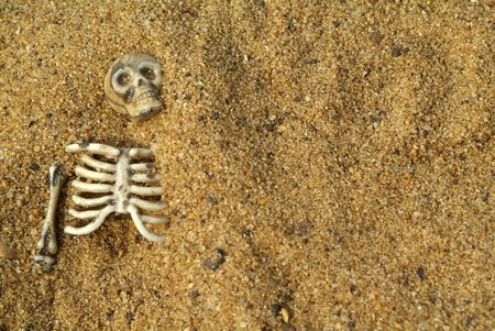 Buried skeleton bones  background photo