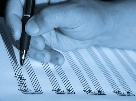 sheetmusic: hand writing sheet music notes