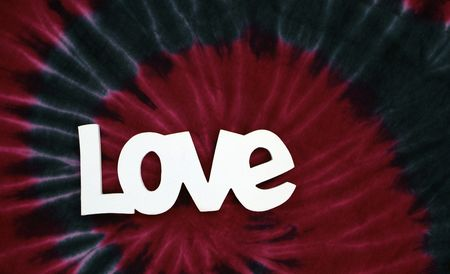 The word love and red and blue tie dye
