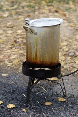 Deep Frying a turkey outside  Stock Photo