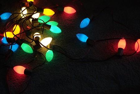 red christmas lights: Colorful Glowing Christmas light bulbs
