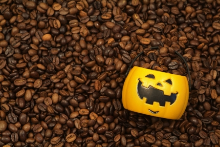Pumpkin filled with Coffee Beans  Stock Photo