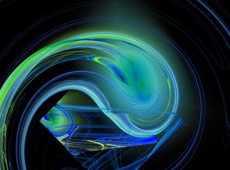vibrant green and blue fractal photo