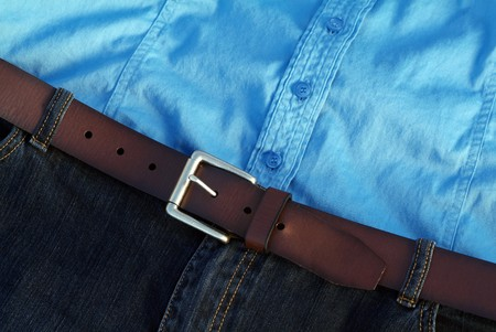 Casual jeans with button down blue shirt