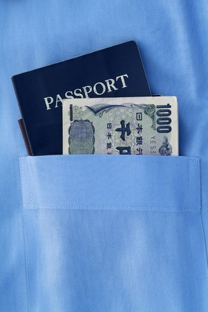 passport with japanese currency in the blue pocket Stock Photo - 4458143