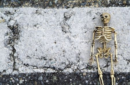 Grunge background with a skeleton
