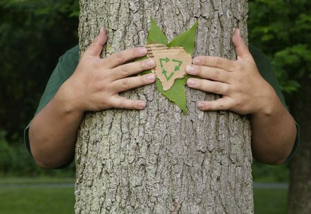 earth friendly: Person wrapping their arms around a tree holding a leaf and a recycling symbol on recycled cardboard