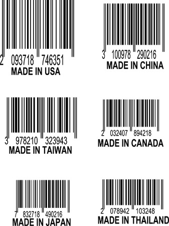 Set of UPC Bar codes, all data is fictional,  each barcode indicates the country location of origin for the following places: USA, China, Taiwan, Canada, Thailand, Taiwan, Thailand, and Japan