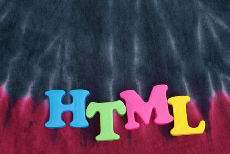 html: Bright colored HTML text with tie dye