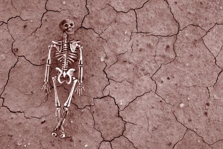 Distressed cracked earth with spooky Skeleton background for Halloween or Pirate Themed events Stock Photo
