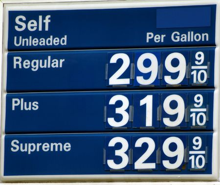 Gas prices above just below 3 dollars per gallon in the United States