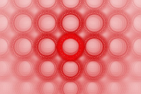 encircle: Vivid bold red bubble circle pattern design background