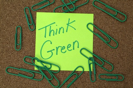 Eco environmental concept: Green post it note with  Stock Photo