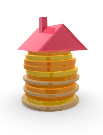 mortgage rates: Red roof on top of piled up coins. Concept of mortgage and savings.