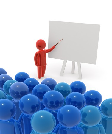 Teacher standing with pointer in hand close to board. Board is empty - ready for montage of desired content. photo