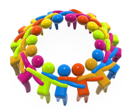 Abstract composition of figures holding each other in circle. Stock Photo