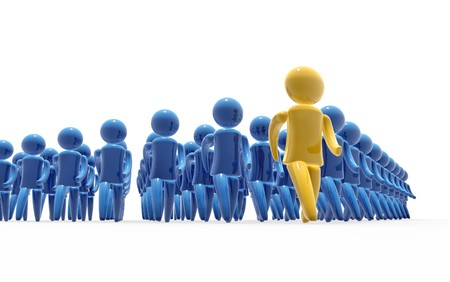 jointly: Team leader and followers marching jointly