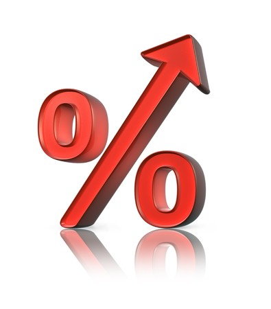 mortgage rates: Red percent sign with upward arrow and reflection