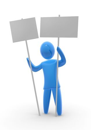 MAN WITH AN EMPTY SIGN Stock Photo - 4170795
