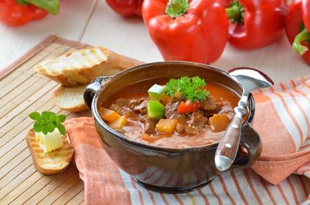 Hot goulash soup photo