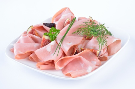 Fresh Italian mortadella with figs photo