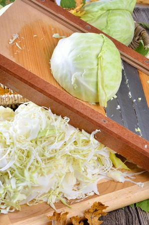 White cabbage sliced for making sauerkraut