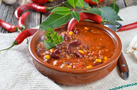 stew: Hot chili con carne with kidney beans and minced meat Stock Photo