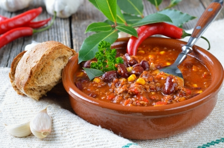 Hot chili con carne with kidney beans and minced meat photo