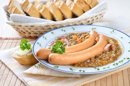 lentil: Lentil stew with sausages