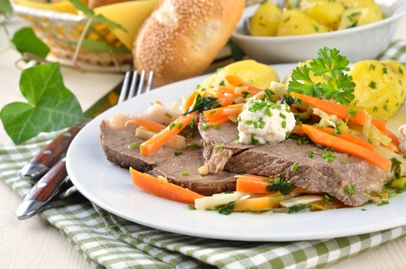 viennese: Prime boiled beef with root vegetables and butter potatoes (Viennese Tafelspitz) Stock Photo