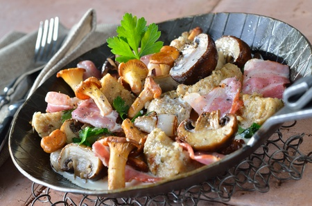 Fried chanterelles and champignons with bacon and bread dumplings