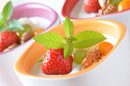 Natural yogurt with fresh fruit Stock Photo - 11699727