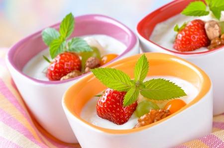 yoghurt: Natural yogurt with fresh fruit Stock Photo
