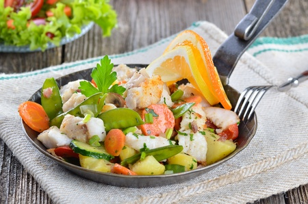 redfish: Pan fried redfish with mixed fresh vegetables Stock Photo